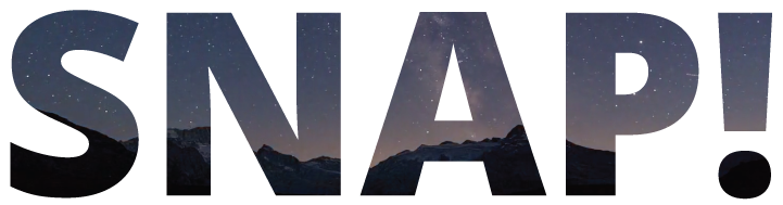 image showing stylized text: SNAP! (bold letters with a starry sky background)